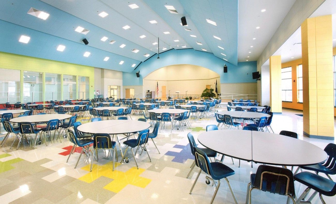 A great design for an elementary cafeteria with the bright colors 1300x790