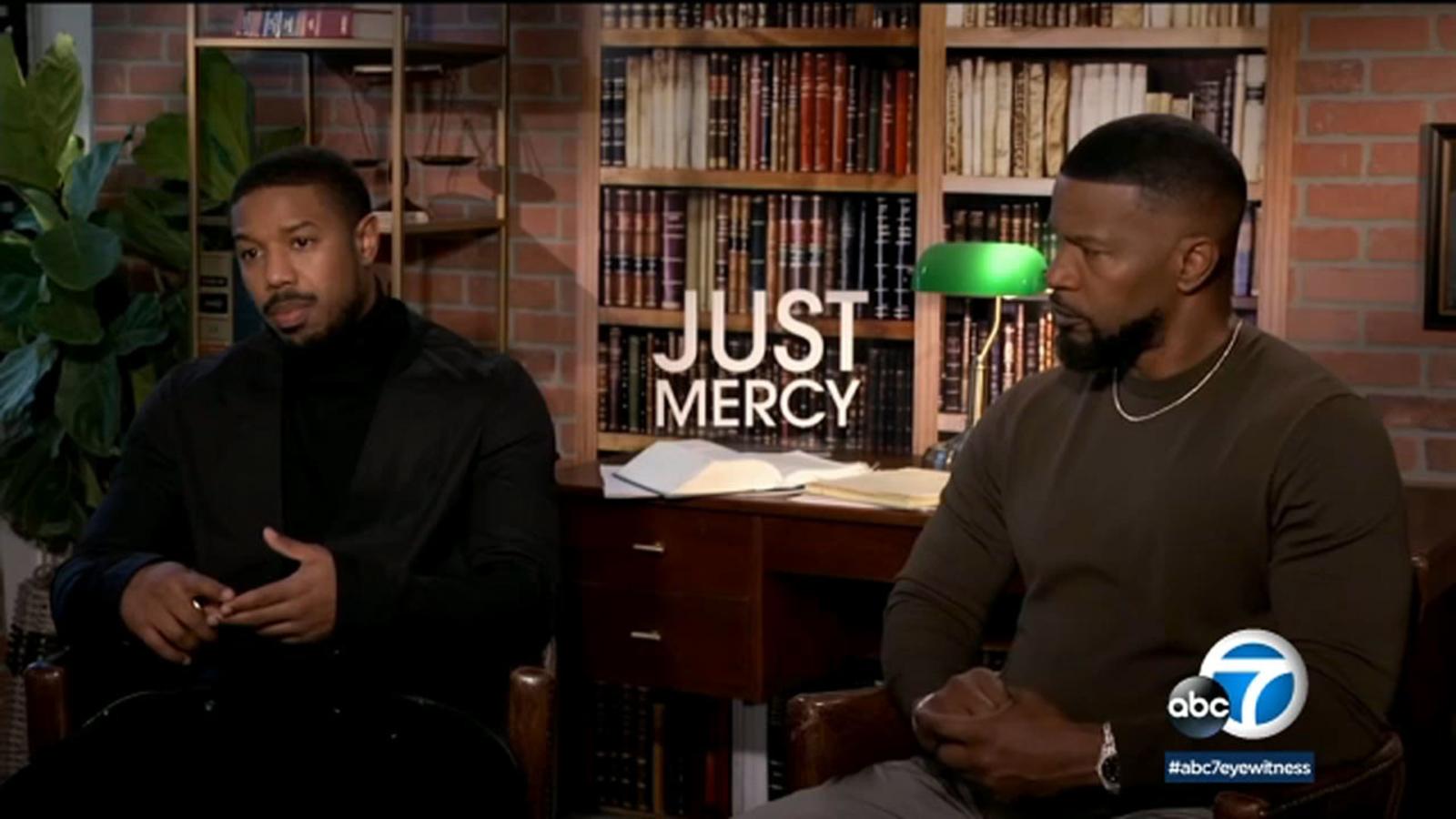 Just Mercy starring Michael B Jordan and Jamie Foxx looks at 1600x900