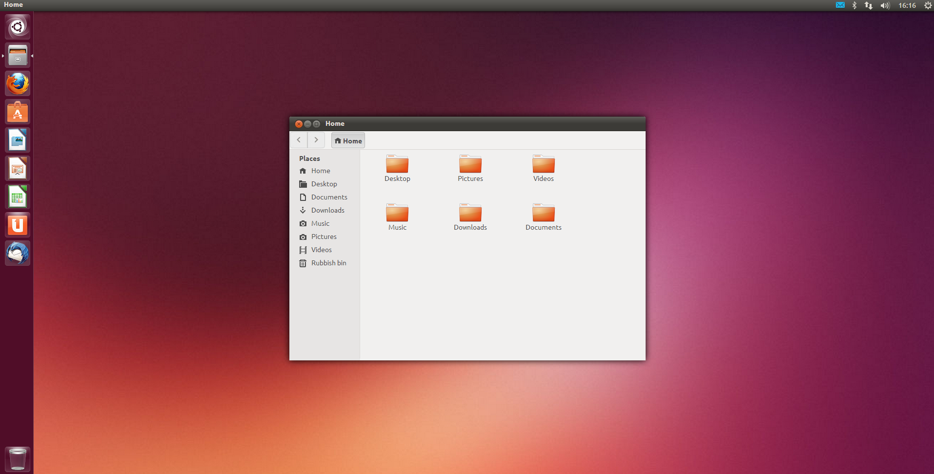 The Ubuntu desktop with the Windows File Explorer like Home Folder 1914x972