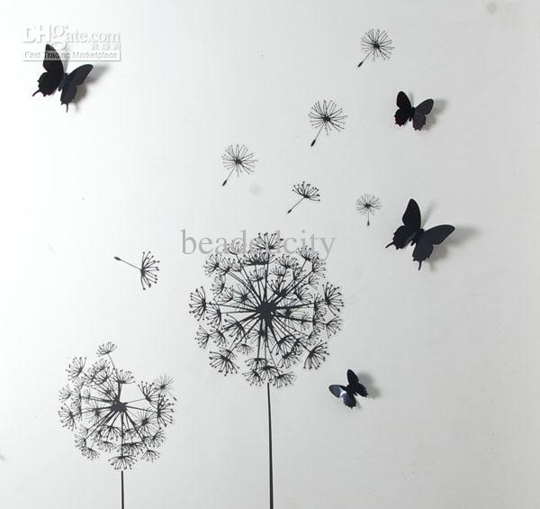 Wall Border Black Dandelions Peel Stick Decals 12 black pvc 3d 600x565