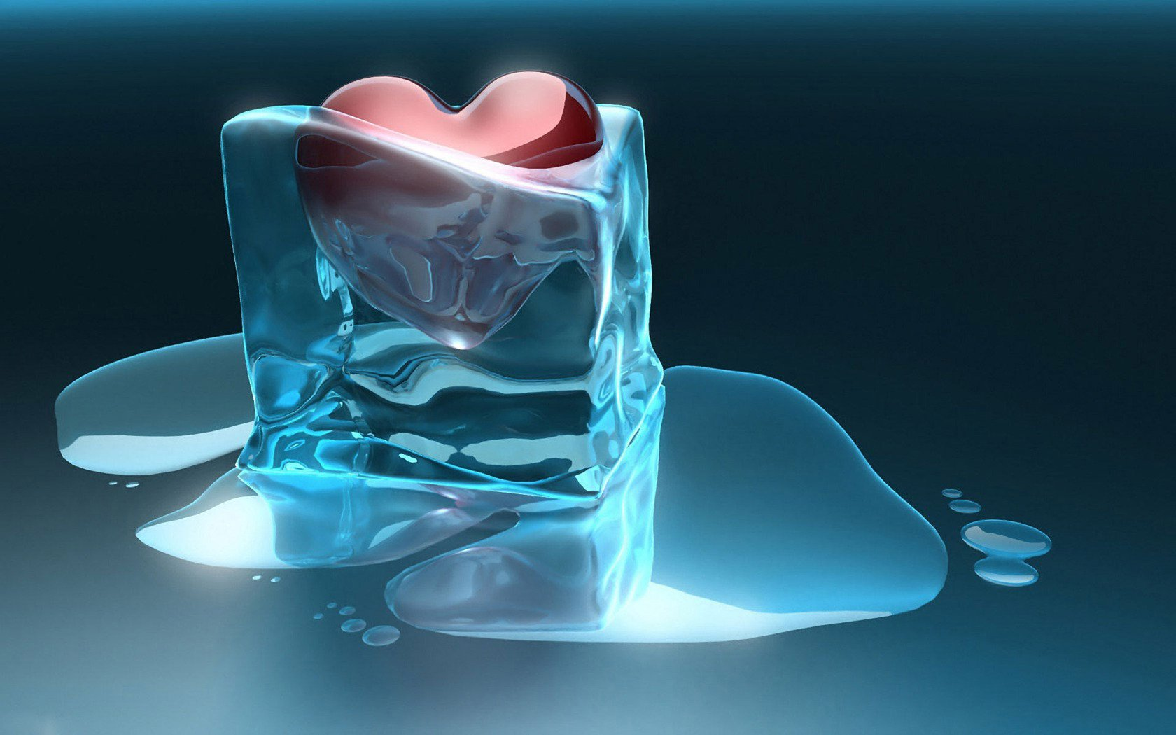 Heart trapped in ice cube wallpaper 1680x1050