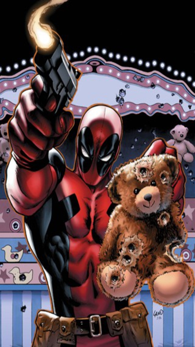 Deadpool saving teddy bear iPhone 5 Wallpaper 640x1136 640x1136