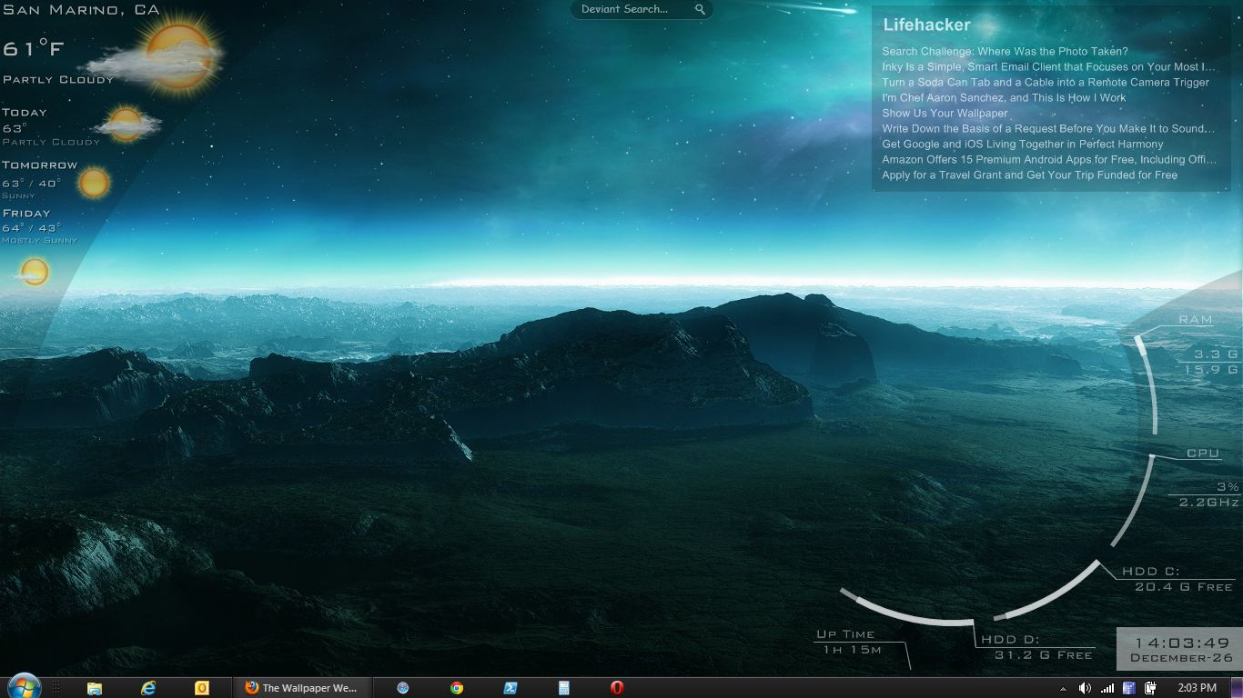Lifehacker reader tmfk has created this alien looking landscape and 1366x768