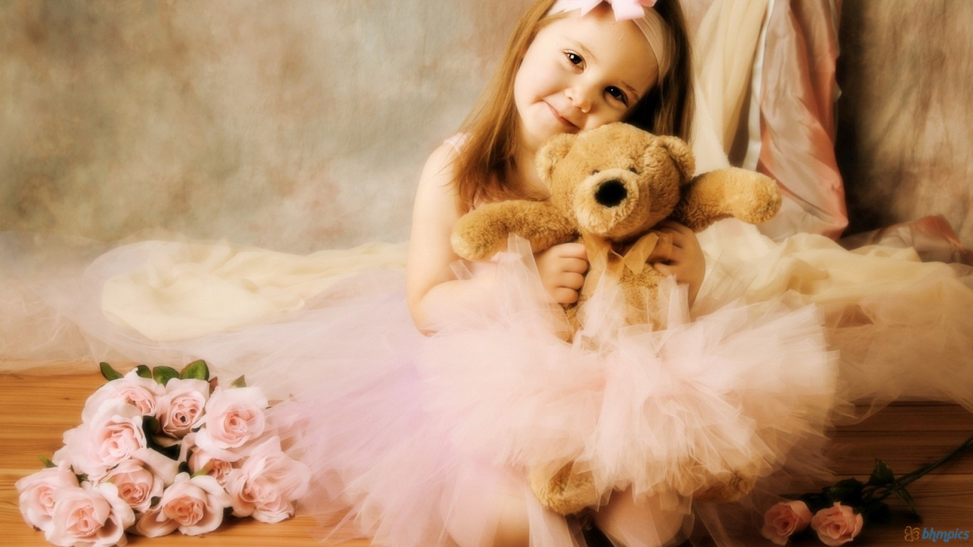 Cute Little Baby Girl With Teddy Bear And Rose Flowers HD Wallpaper 1366x768