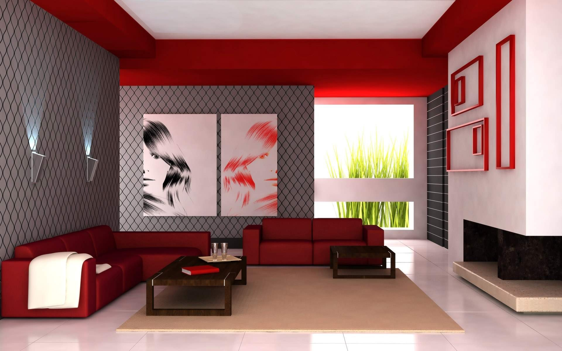 Red Interior Design Decorating Room HD Wallpapers 1920x1200