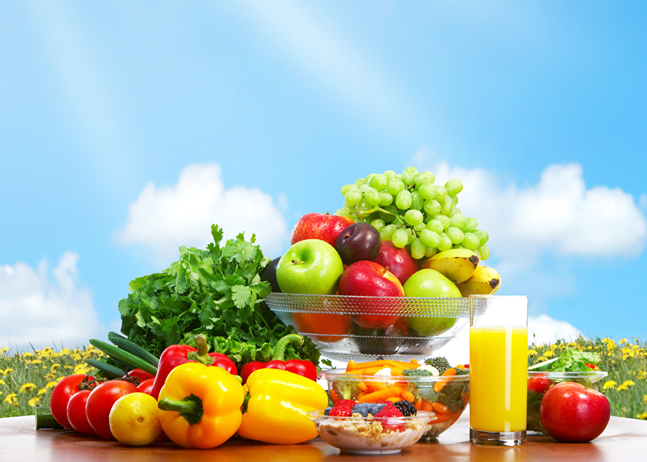 Wallpapers Juice Tomatoes Grapes Apples Food Fruit Pepper Vegetables 1280x913