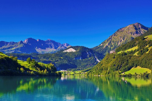 WM241   Alps Summer Mountain Landscape With Lake photo wallpaper mural 500x333