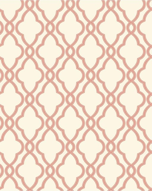 Hampton Trellis Wallpaper Coral   Transitional   Wallpaper   houston 512x640