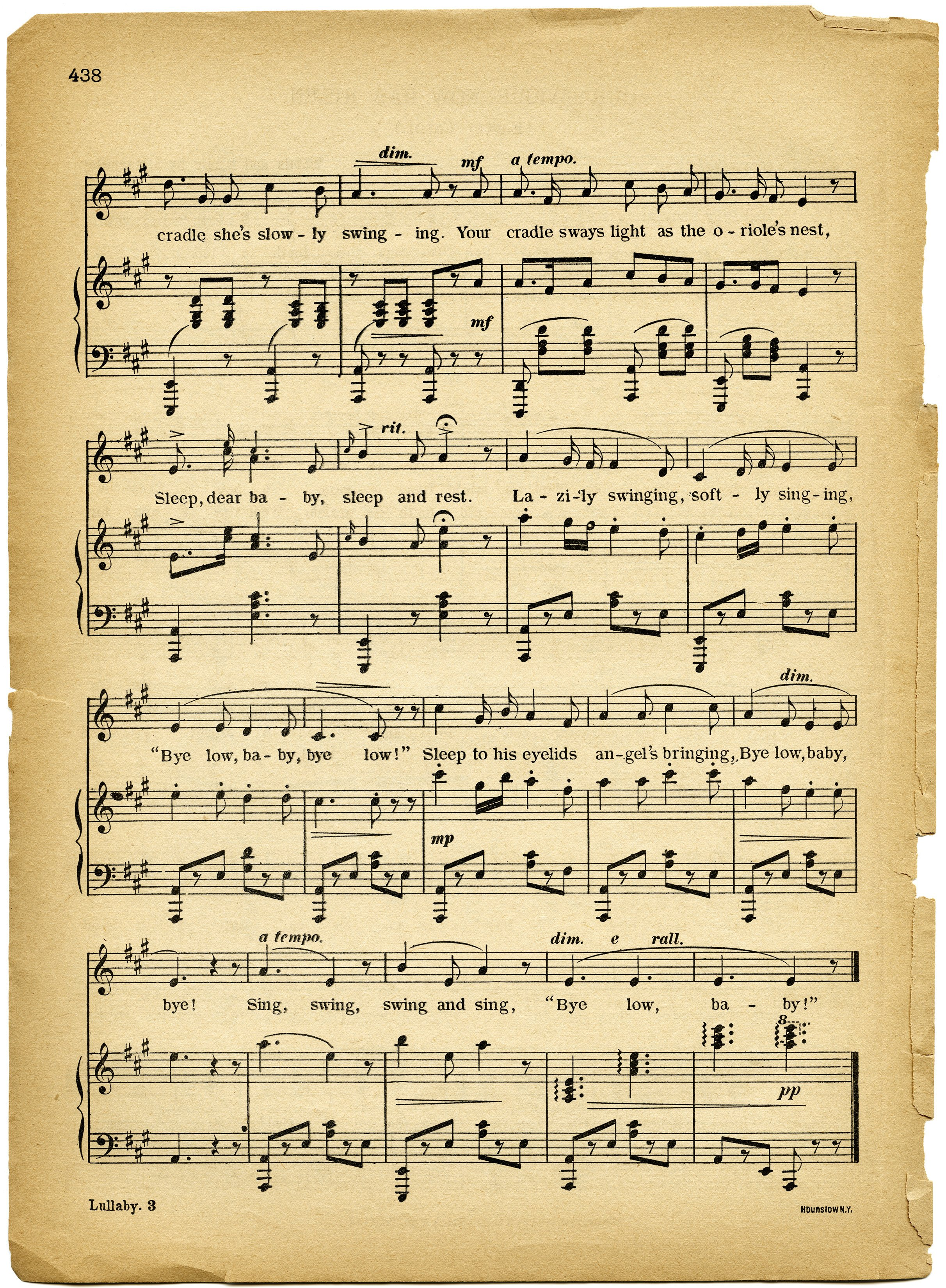 Vintage Images Lullaby Sheet Music 2424x3300