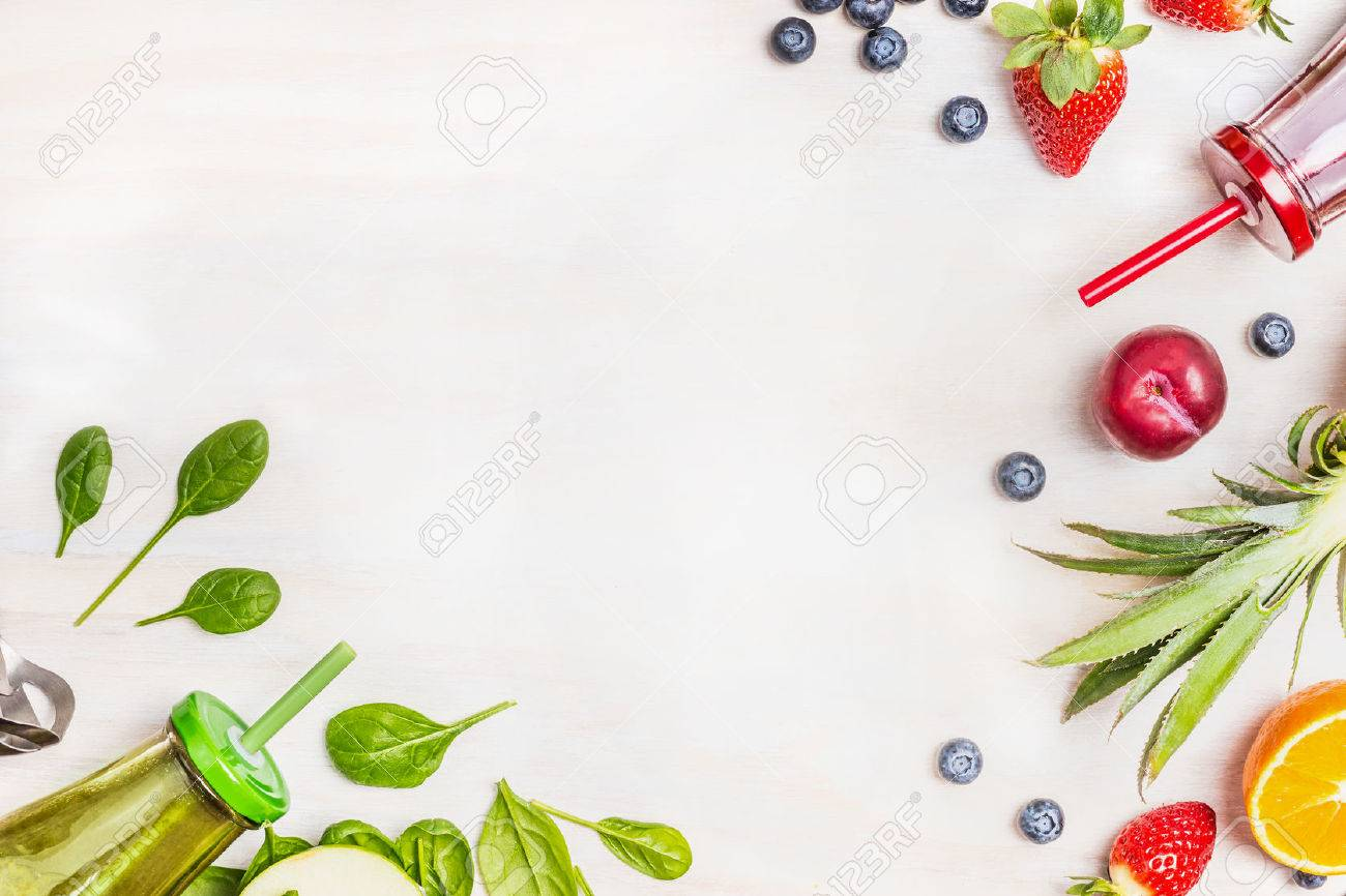 Smoothies And Fresh Ingredients On White Wooden Background Top 1300x866