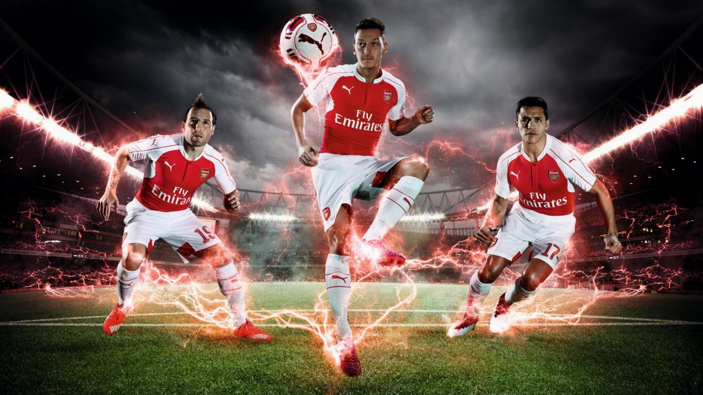 Arsenal FC Home Jersey 20152016 Wallpaper   Football Wallpapers HD 1366x768