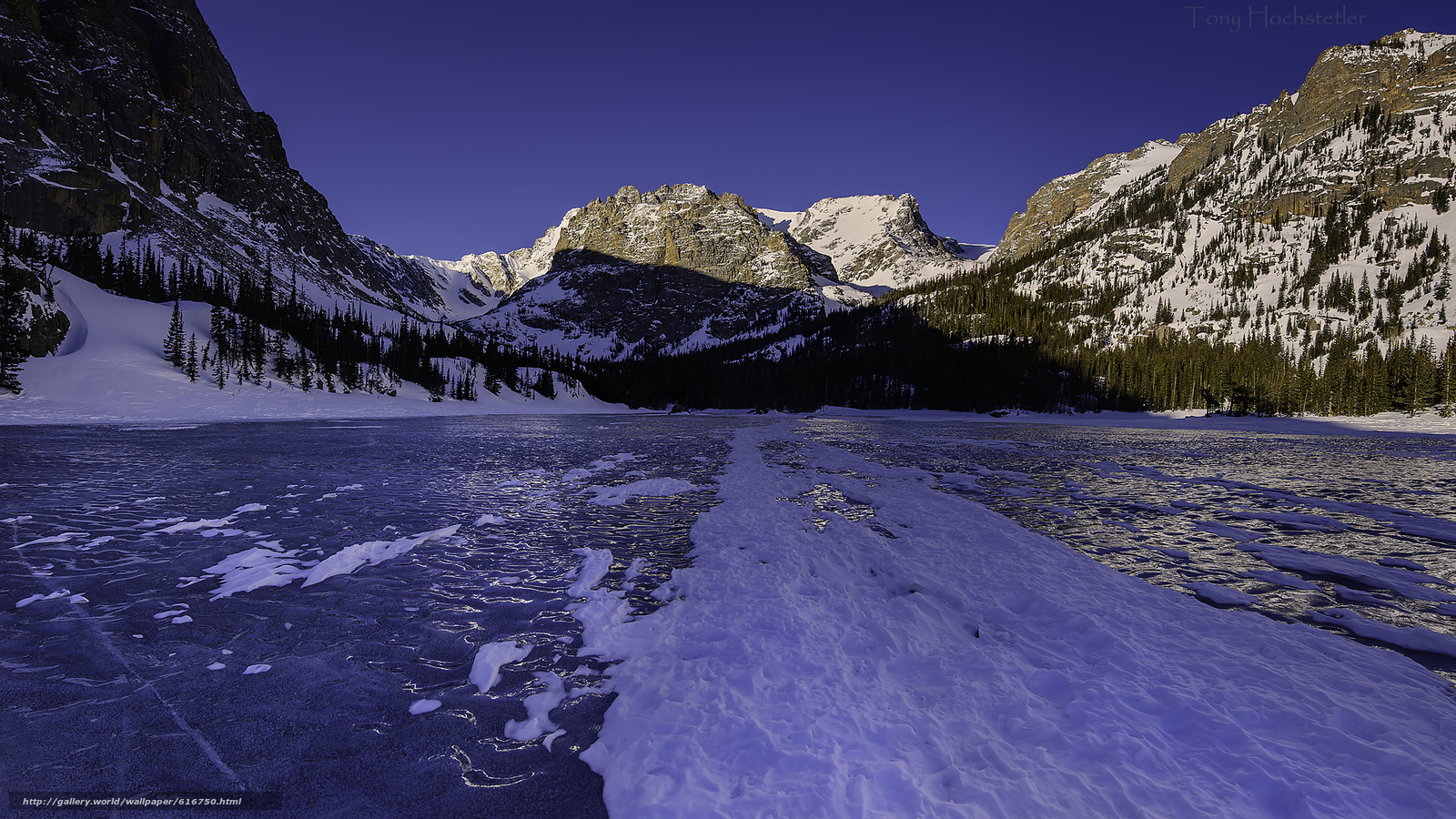 Download wallpaper Rocky Mountain National Park lake ice Mountains 1600x900