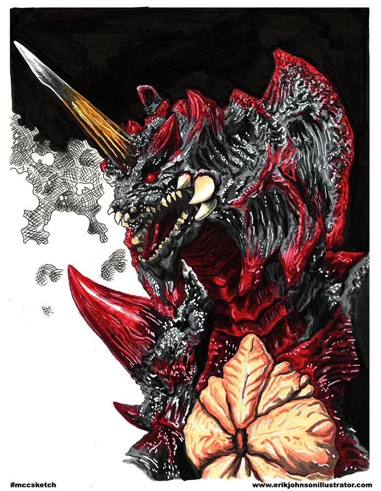 Destroyah Godzilla Erik Johnson Illustrator Michigan Comics 777x1000