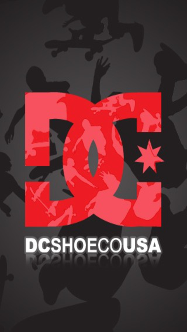 DC Shoes Red and White Logo Grey Wallpaper for iPhone 5 HD Background 640x1136