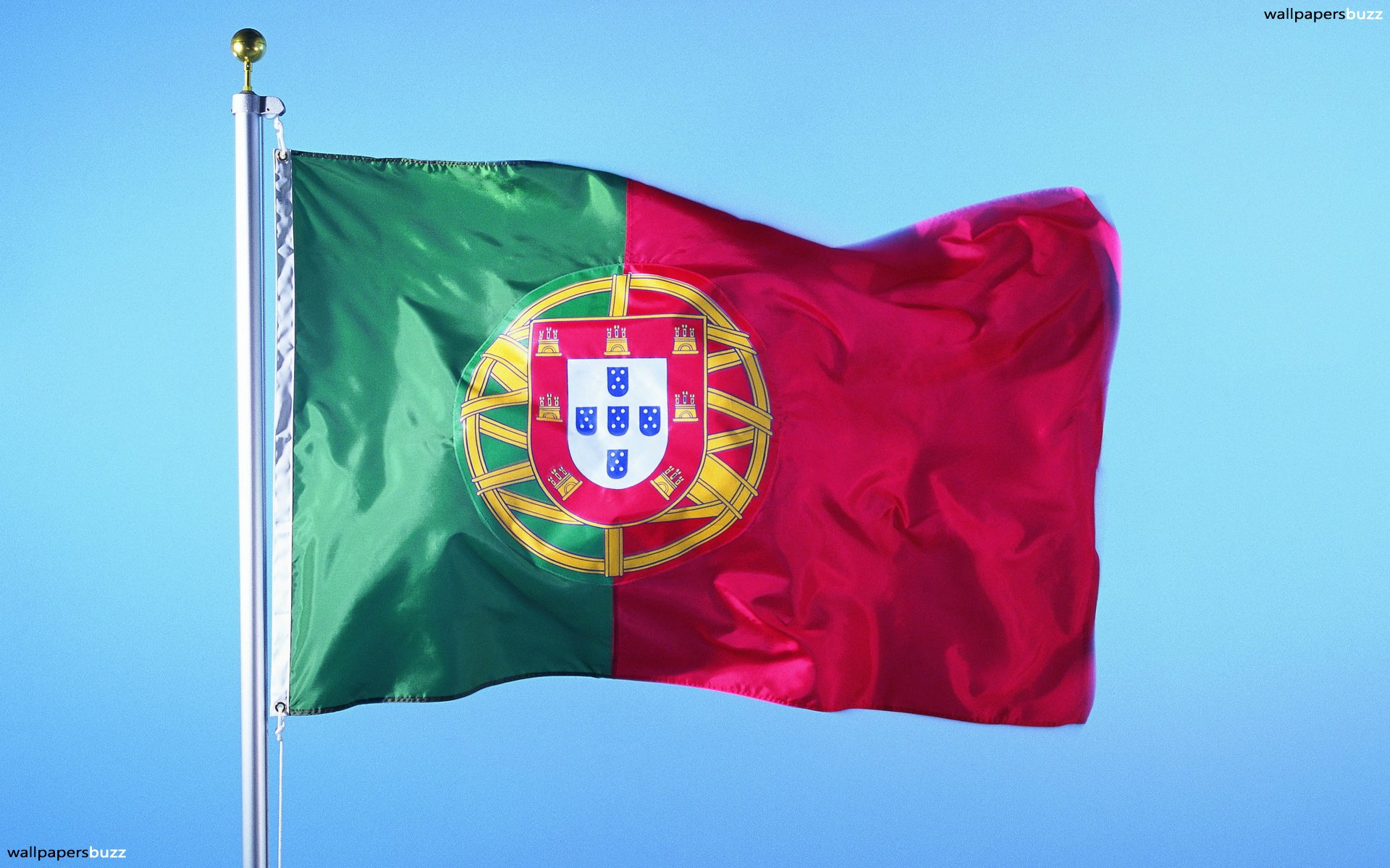 The flag of Portugal HD Wallpaper 1920x1200