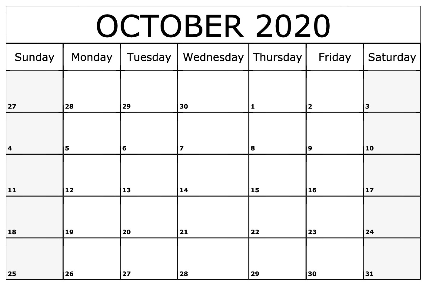 October 2020 Calendar PDF Word Excel Printable Template 1406x933