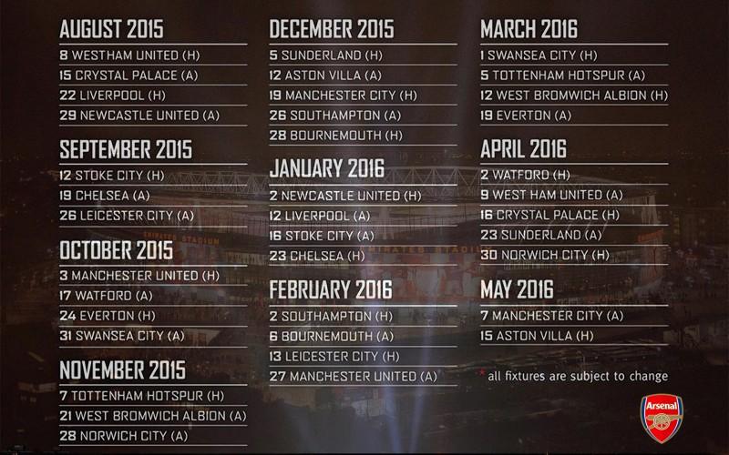 Name Arsenal FC Barclays Premier League 2015 2016 Fixtures Wallpaper 800x500