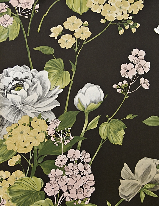 Penrose Floral Wallpaper Bold floral print wallpaper in Black with 534x692