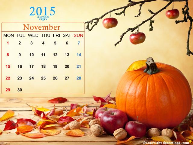 November Calendar Calendar 2015