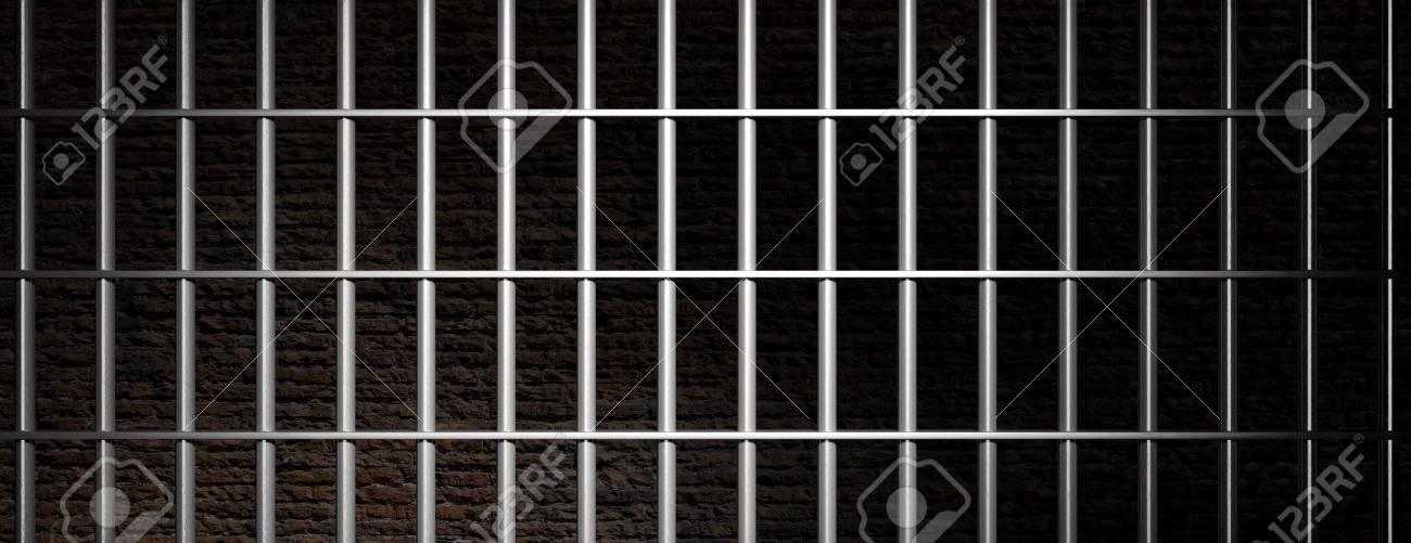 Prison Jail Metallic Bars On Dark Brick Wall Background Banner 1300x501