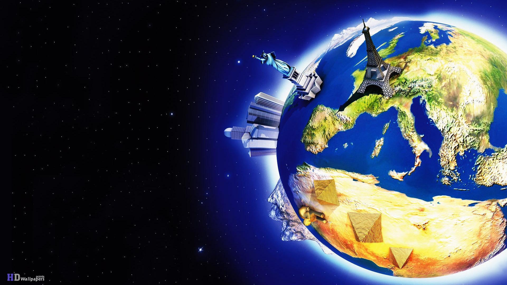 World Map 3d Space Logo HD Wallpaper HD Wallpaper 1920x1080