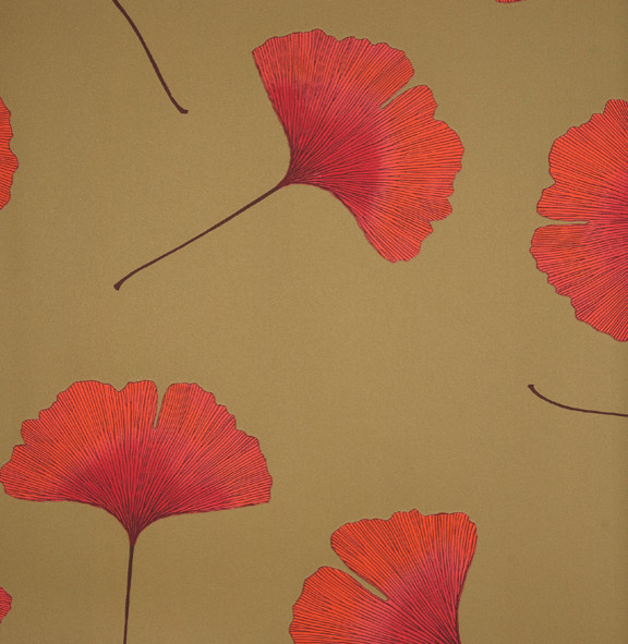 Biloba Orange Wallpaper by Marimekko   Modern   Wallpaper   by Textile 576x591