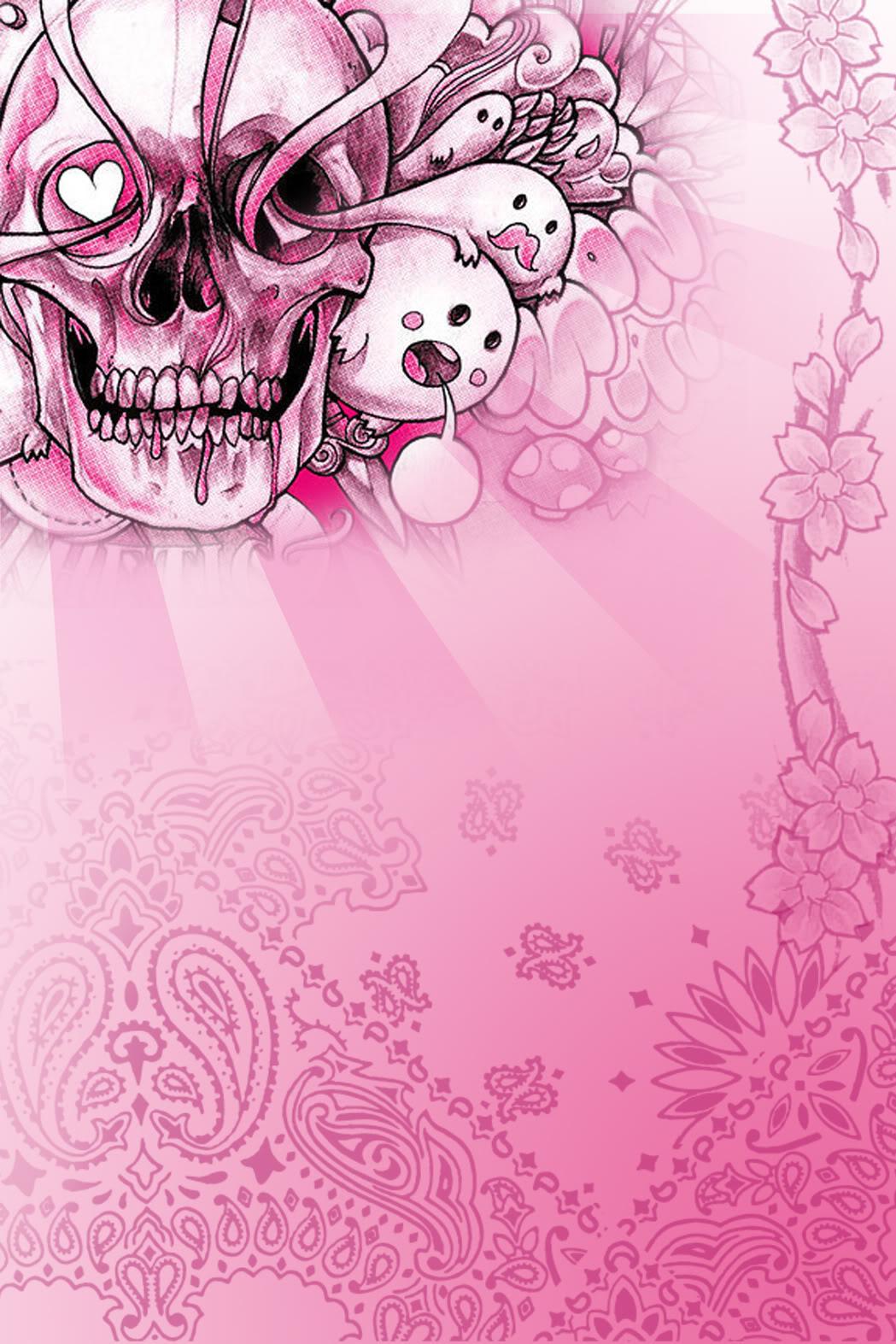 Pink Stuff Walllpaper Skulls Wallpaper 1049x1573