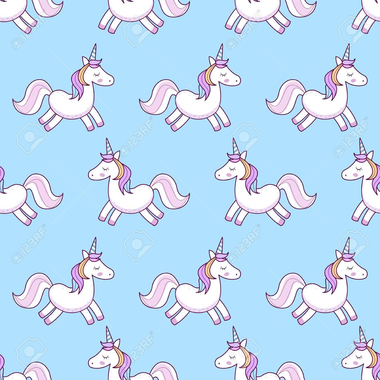 Unicorns Vector Illustration Seamless Pattern Rainbow Unicorns 1300x1300