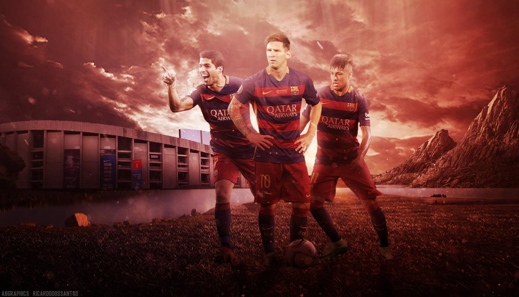 Messi Suarez Neymar   MSN Wallpaper ft 4le88 by RakaGFX on 1024x587