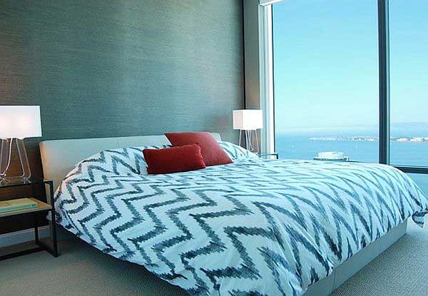 Ideas Images Contemporary Bedroom Design with Grasscloth Wallpaper 600x415
