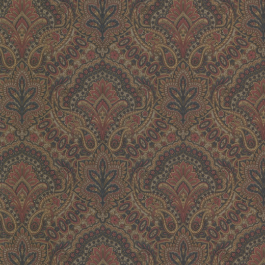Details about Paisley   Damask   Red Blue Taupe Gold   Wallpaper 520x520