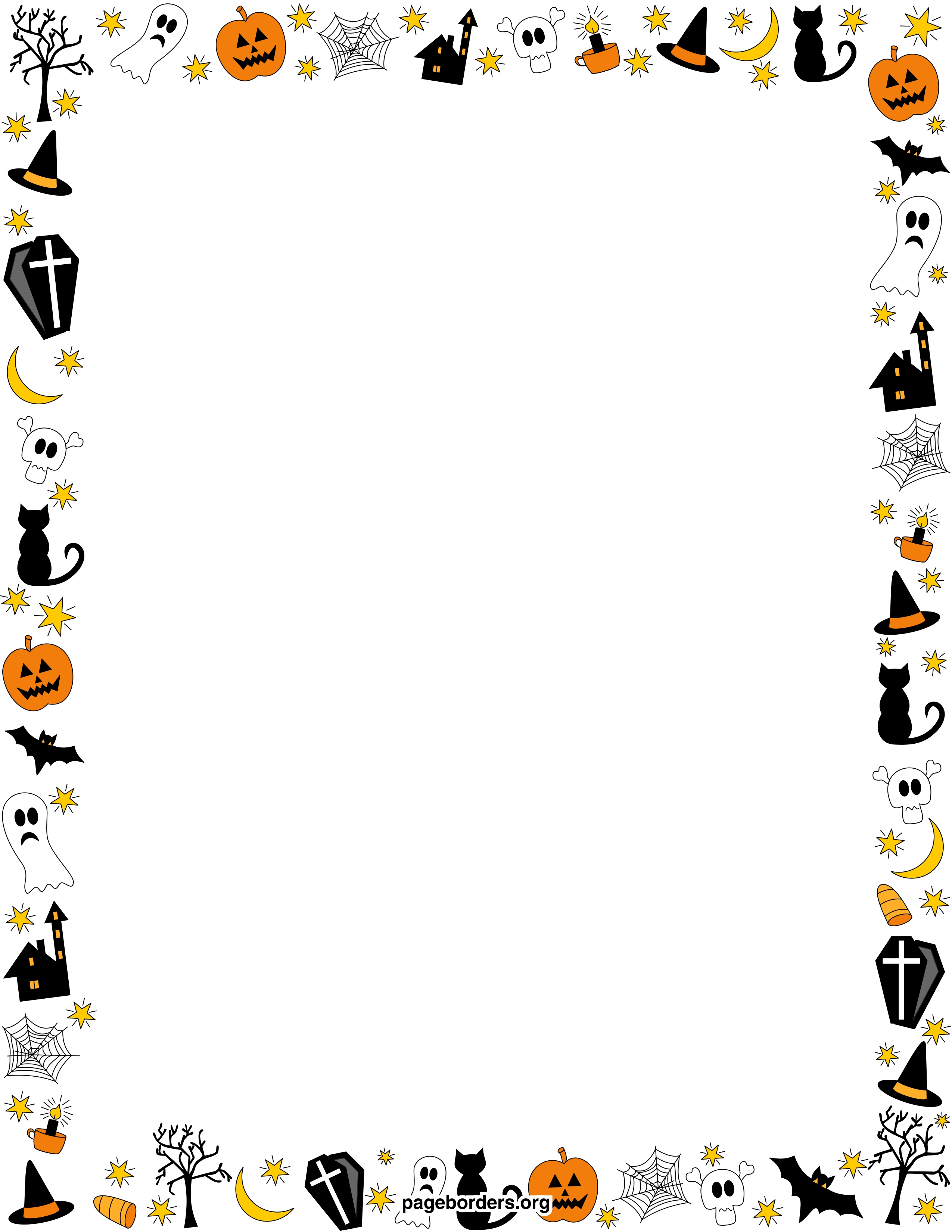 Halloween Borders Clip Art Page Borders and Vector Graphics 2550x3300