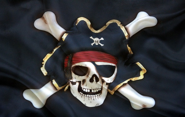 Wallpaper jolly roger flag skeleton hat wallpapers textures 596x380