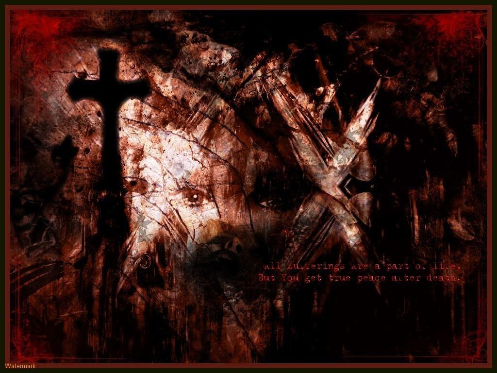 dark gothic horror blood cross graves artwork HD Wallpaper wallpaper 1024x768