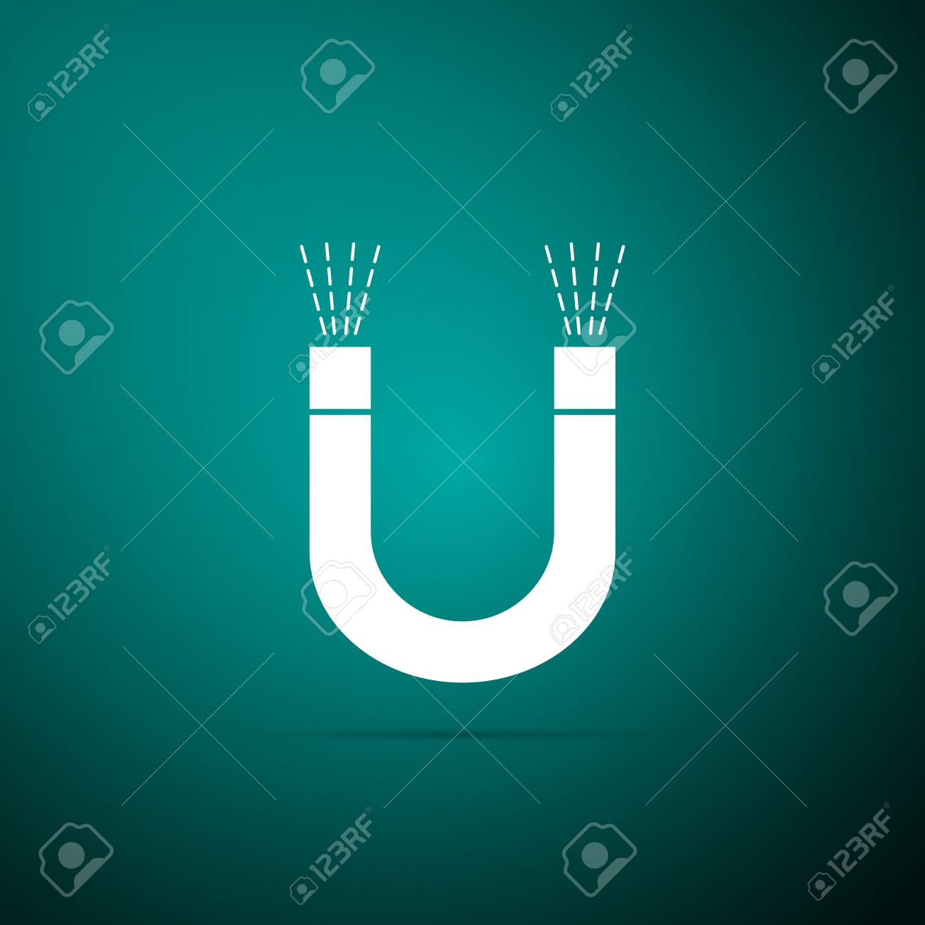 Magnet Icon Isolated On Green Background Horseshoe Magnet 1300x1300