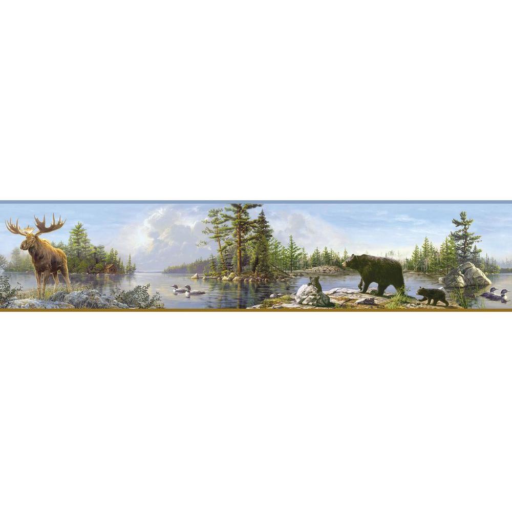 Chesapeake Carnegie Sky Moose Lake Wallpaper Border Sample 1000x1000