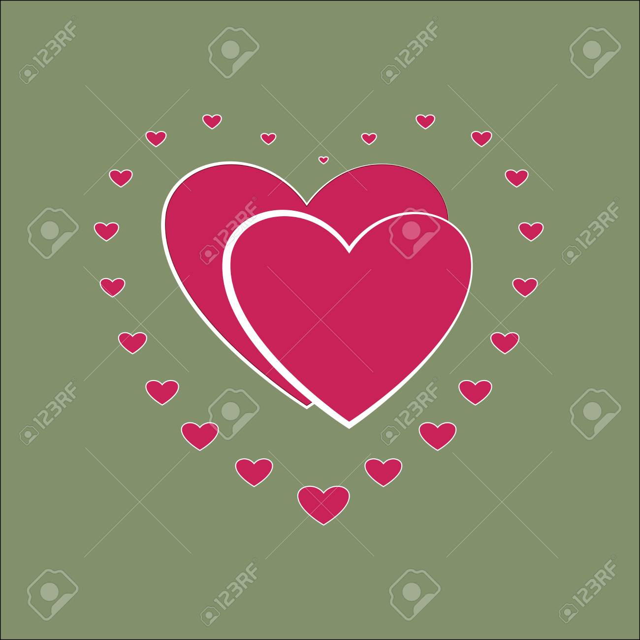 Heart Small Around Two Heard Pink Sign On Green Background 1300x1300