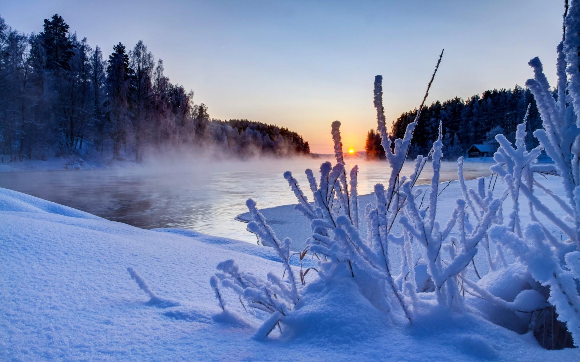 Beautiful Winter Sunset Scenery HD Wallpapers 1920x1200