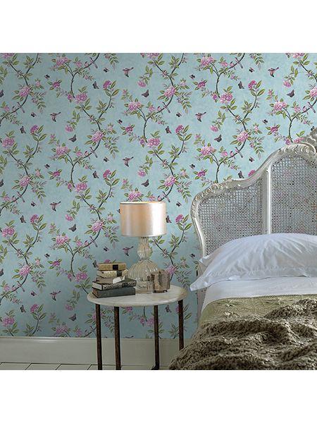 Graham Brown Duck Egg Chinoiserie Wallpaper   House of Fraser 450x600