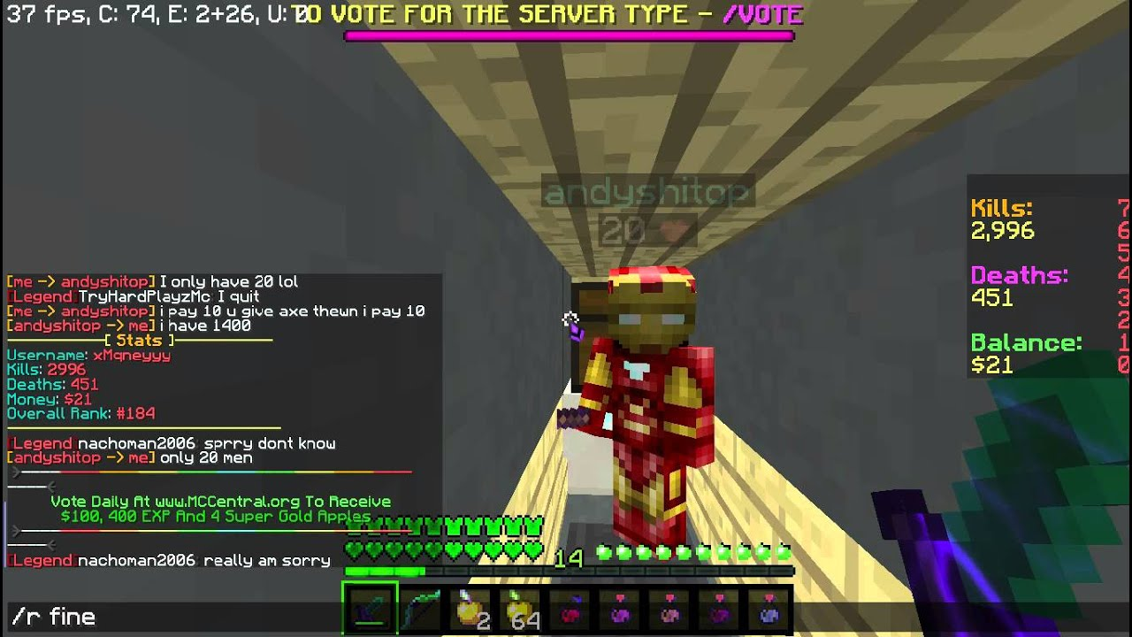 andyshitop Scam on Minecraft Central KitPvP RAW 1280x720