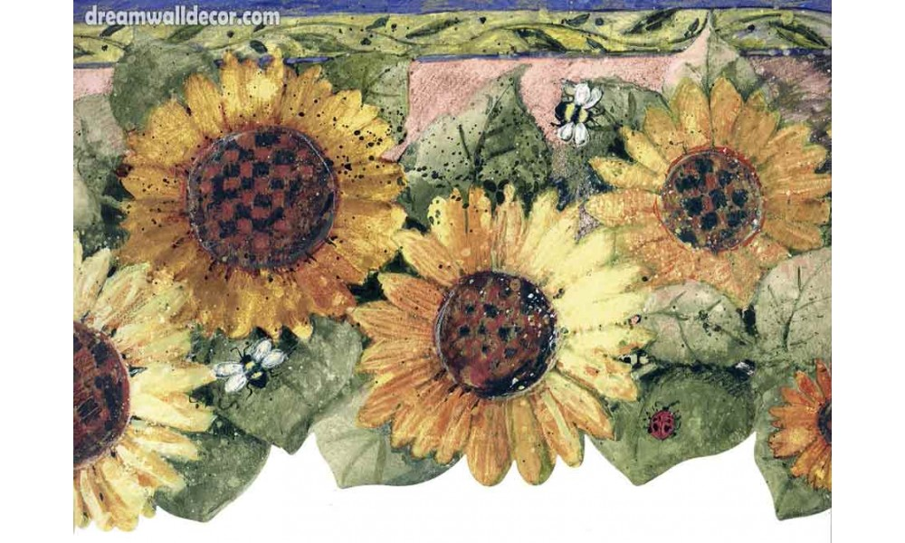 Home Honey Bee Big Sunflower Wallpaper Border 1000x600