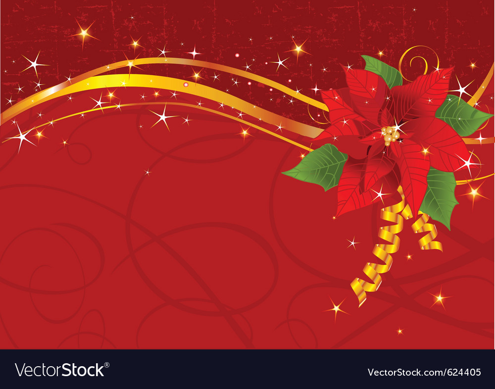 Christmas poinsettia background Royalty Vector Image 1000x786
