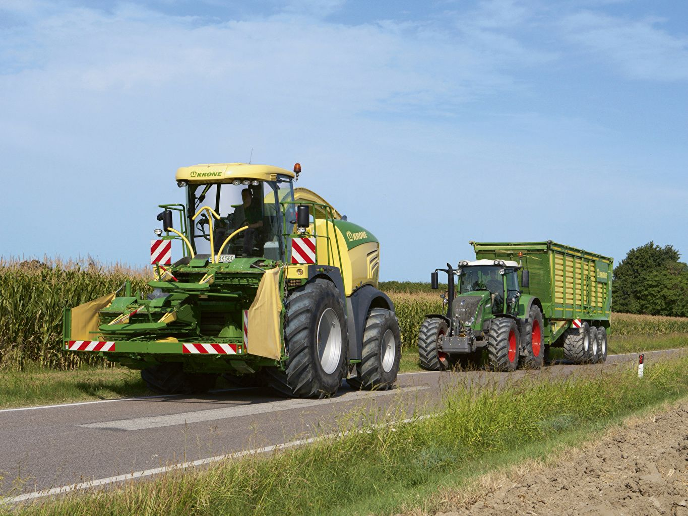 Wallpaper Agricultural machinery Krone BiG X 580 Fendt 2 Roads Two 1365x1024