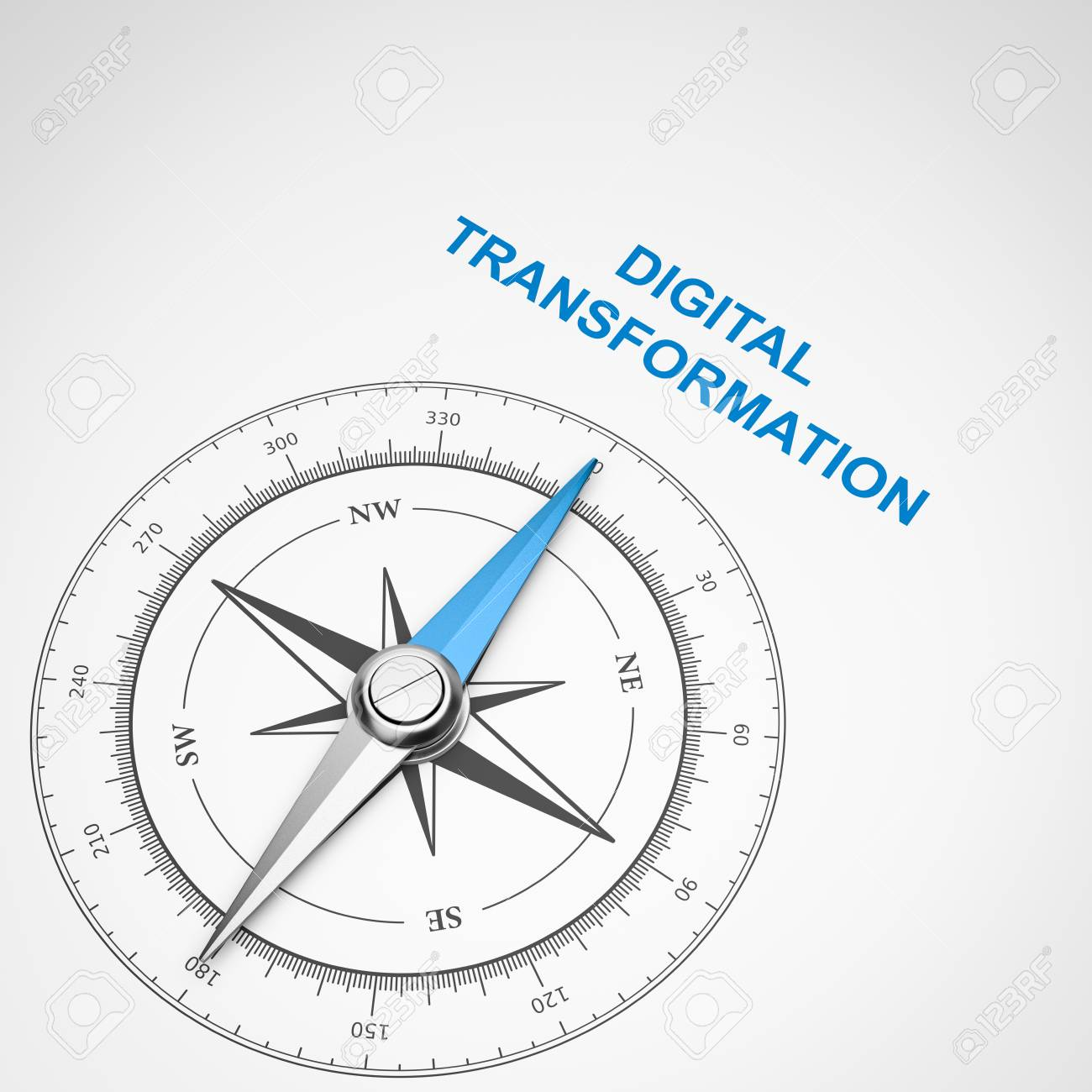 Magnetic Compass With Needle Pointing Blue Digital Transformation 1300x1300