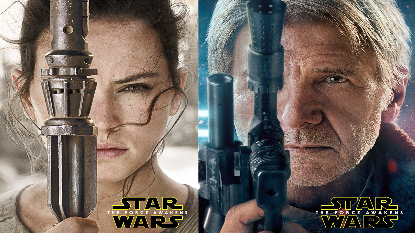 Rey And Han Solo Star Wars The Force Awakens HD Wallpaper 1366x768