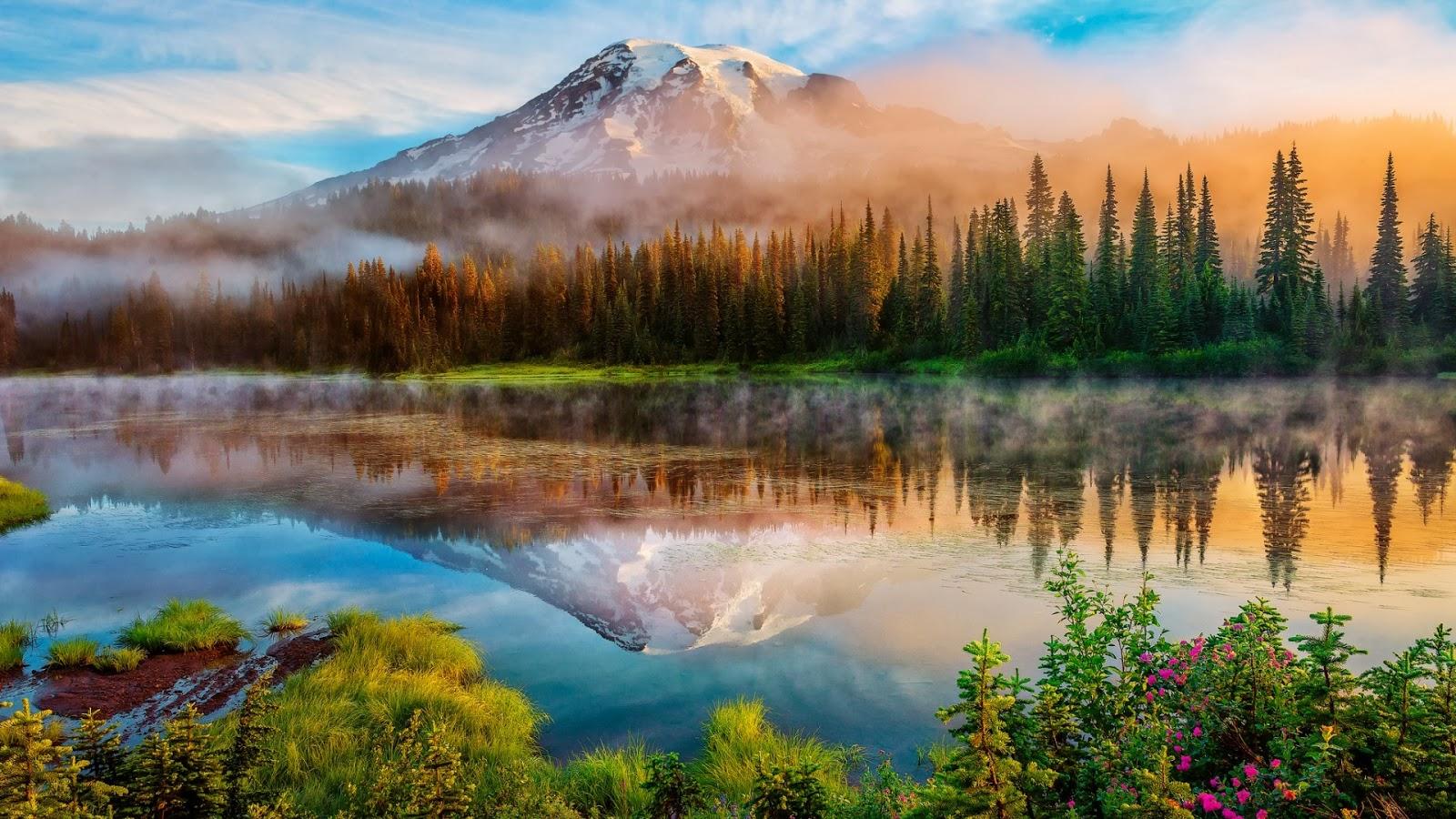 Beautiful Places on Earth Mount Rainier Landscape Wallpaper 1600x900