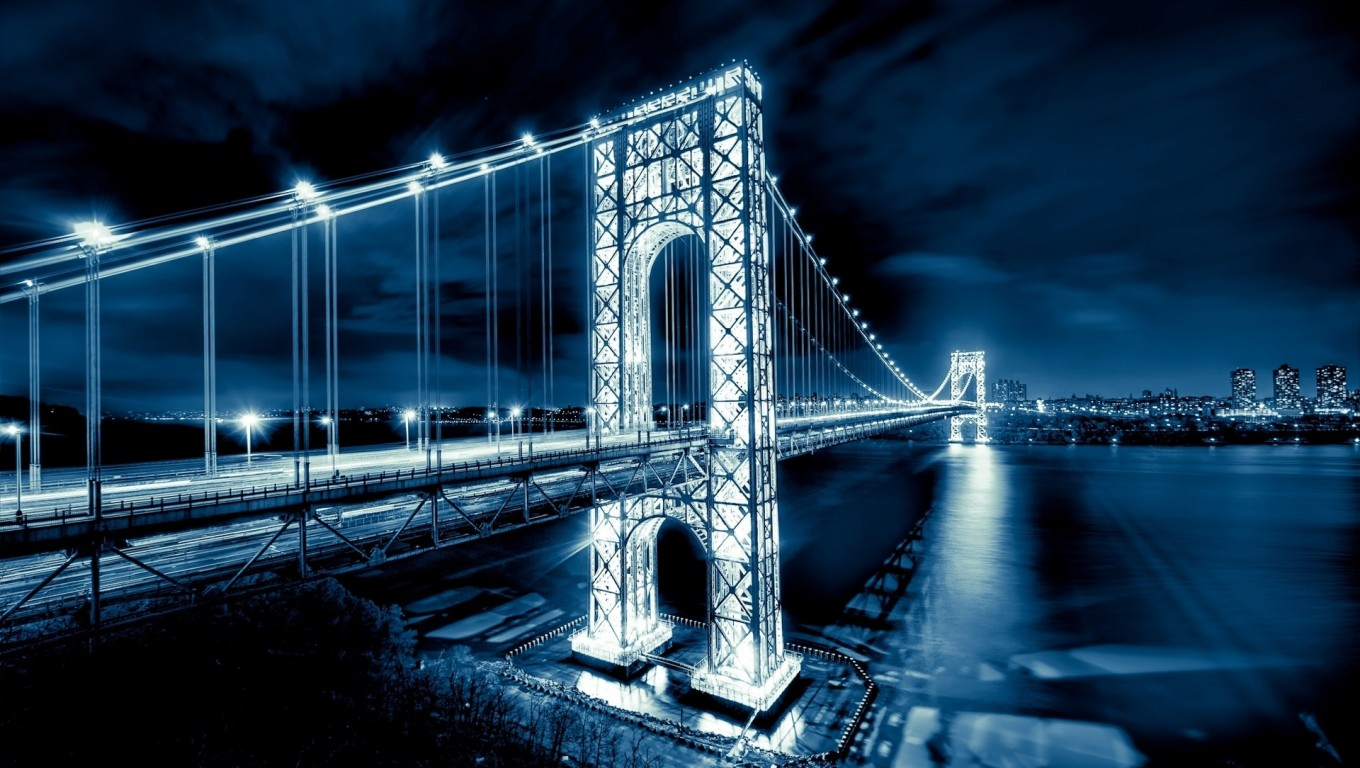Download USA Washington Bridge Night View HD Wallpaper Search more 1360x768