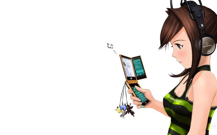 Anime girl mobile wallpaper wallpapersafari - Anime girl on phone ...