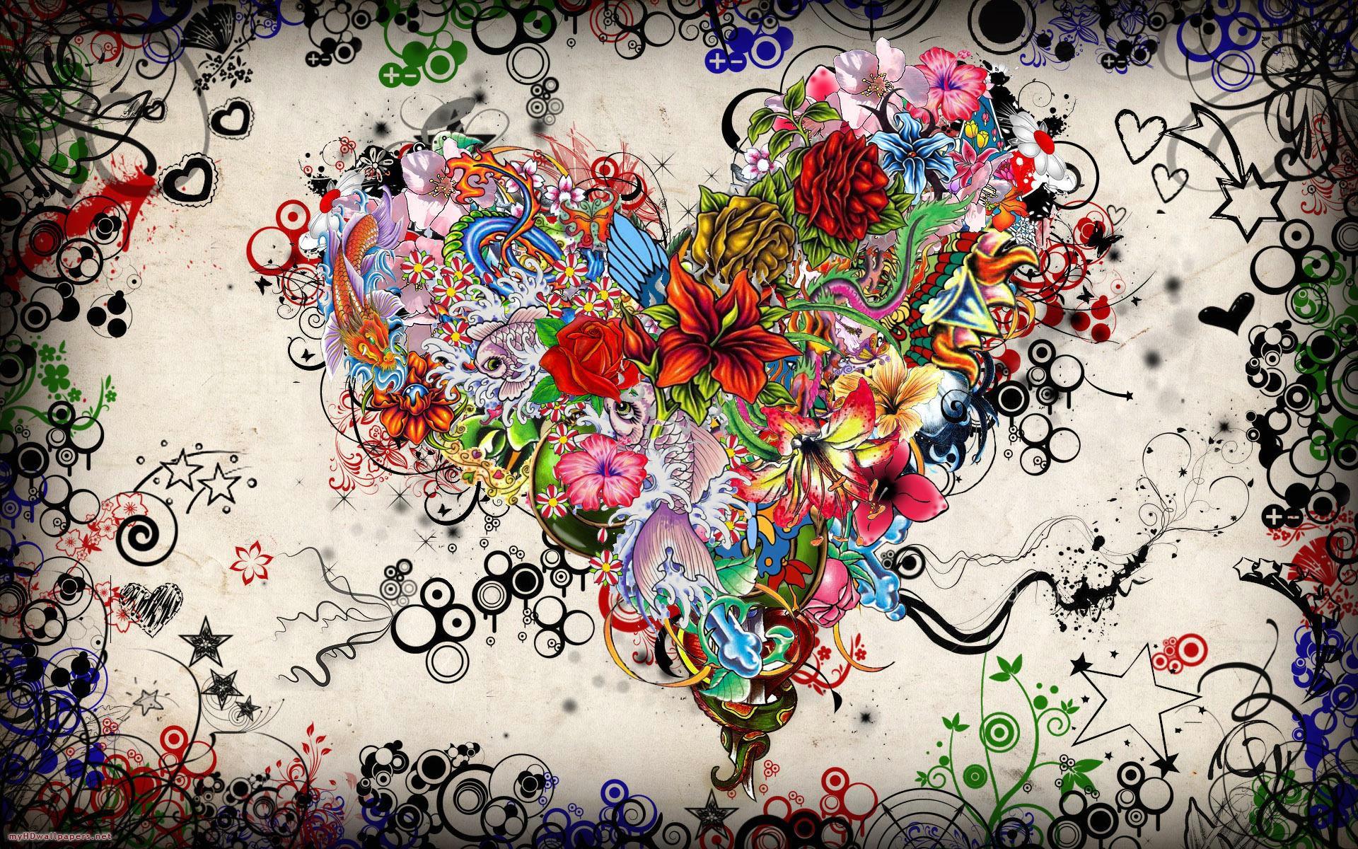Flower colorful heart   Desktop Wallpaper HD Wallpapers Download 1920x1200