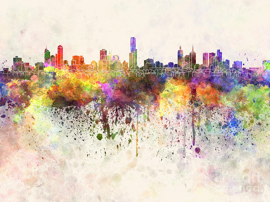 Melbourne Skyline In Watercolor Background Painting by Pablo Romero 900x675